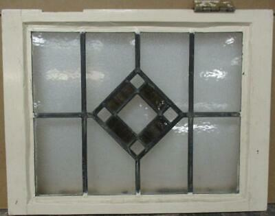 "OLD ENGLISH LEADED STAINED GLASS WINDOW Gorgeous Diamond Design 20.25"" x 15.5"""