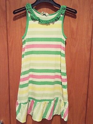 Girls Stripey Frilly Holiday Summer Dress H&M Age 6-8 Green Pink Yellow VGC