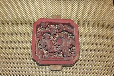 Antique Chinese Wood Carved Furniture Panel Religious Elders Detailed Red Color