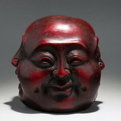 Collect China Old Red Coral Resin Hand-Carved All Sides Buddha Delicate Statue