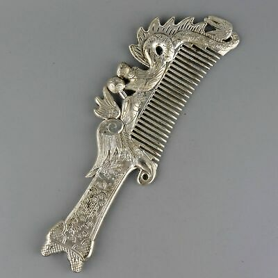 Collect China Old Miao Silver Carved Myth Dragon & Phenix Auspicious Noble Comb