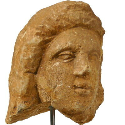 Ancient Roman Egypt Limestone ALEXANDER The GREAT, Male Head Ex ARTE PRIMITIVO