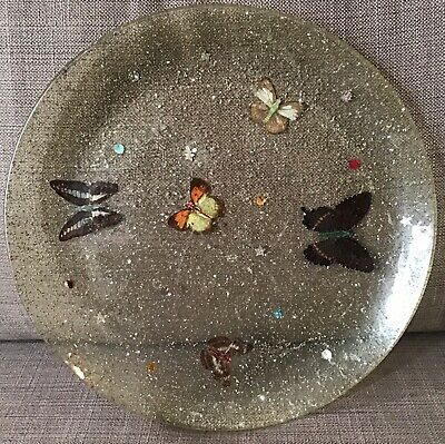 Butterfly Glitter Lucite Resin Large Plate Charger Mid Century Butterflies