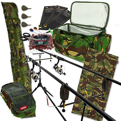 Carpa Pesca 2 Caña y Carrete Set Up con Camuflaje Carry All + Bolsa Abordar Cebo