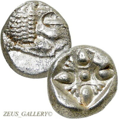 LION / Stellate. Ionia, Miletos 525 BC Ancient Greek Silver Coin XF 1/12 Stater