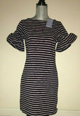 SAIL TO SABLE Ruffle Sleeve Striped Dress NAVY + CANDY PINK Stripe ($168) NWT