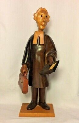 """Vintage Romer Carved Wood Figure Judge Lawyer Law Book Briefcase 12.5"""" Italy"""