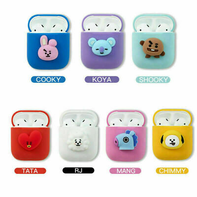 KPOP BTS BT21 Cartoon Earphone Protective Cover for Apple Airpods Charging Case