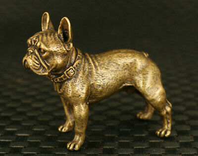 Rare China rare old bronze Handcarved dog statue table home noble gift decorate