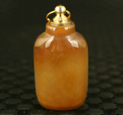 Chinese old jade hand carved mini exquisite statue pendant snuff bottle gift
