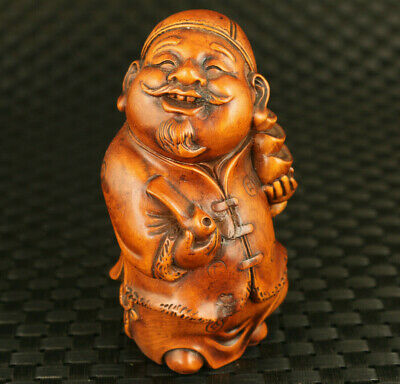 unique Chinese boxwood Handcarved god of wealth figure statue fortune decoration