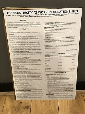 """ELECTRICITY AT WORK REGULATIONS 1989"" POSTER 840 X 570MM. Brand New"