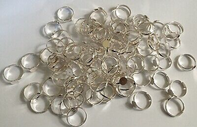 Bright Silver Coloured Metal Adjustable Ring Bases Making Craft x 96