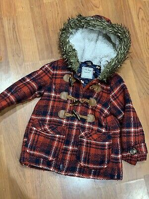 Girls Next Red Checked Hooded Zip Coat Jacket Age 3-4Yrs Great Condition