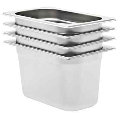 vidaXL 4x Pans GN 1/4 150mm Stainless Steel Kitchen Stackable Tray Container