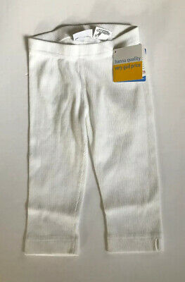 Hanna Andersson Leggings Size 100 White Ribbed 100% Cotton USA SIZE 4