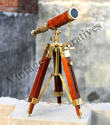 Nautical Vintage Brass Maritime Pirate Marine Antique Telescope W/ Wooden Tripod