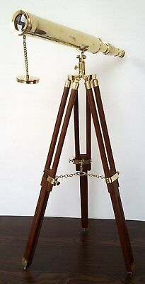 "Nautical Vintage Brass Finish Marine 18"" Maritime Spyglass Collectible Telescope"