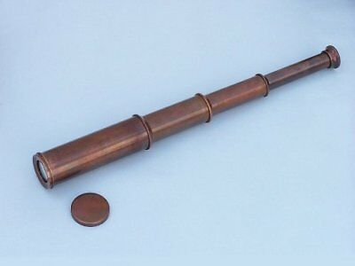 Nautical Solid Brass Antique Admiral Spyglass Maritime Collectible Telescope 14""