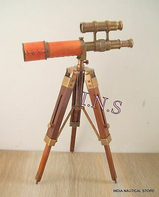 Spyglass Nautical Antique Marine Collectible Leather Telescope With Wood Tripod