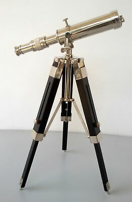Spyglass Brass Nautical Nickel Finish Telescope With Wooden Tripod Collectible