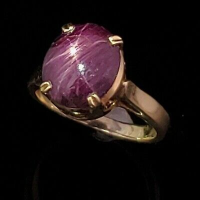Vintage Natural 5.9ct Star Ruby 14k Yellow Gold Dinner Ring Estate Jewelry Gift
