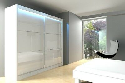 Modern WARDROBE Double Sliding Door with MIRROR / LACOBEL bedroom living hallway