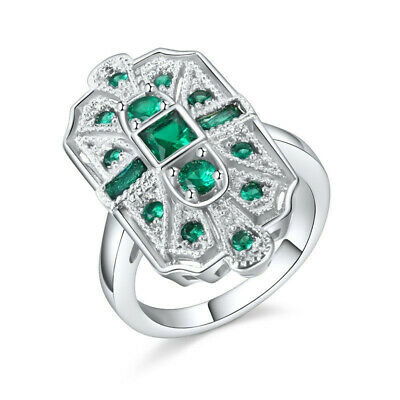 Fashion Silver green Cubic Zirconia CZ Art Deco Cocktail Statement Ring Size 9