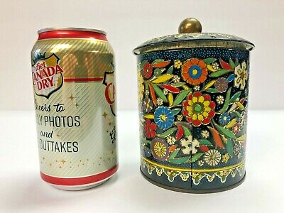 Vintage Metal Tin England Floral with Lid