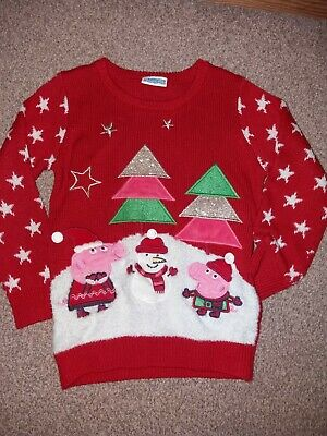 Girls Red Peppa pig Christmas jumper size 3-4 years