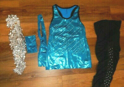 CURTAIN CALL Costumes Jazz Society Blue Sequins One Shoulder Dance Dress J4549