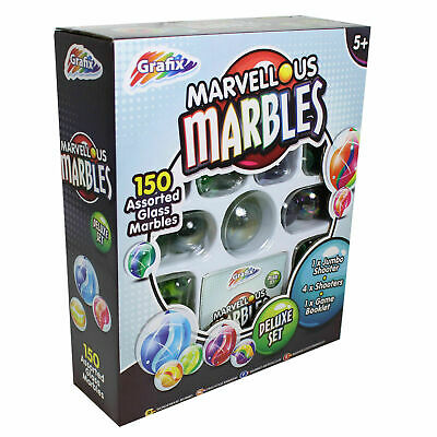 Grafix Marvellous Marbles Deluxe Set - 150 Assorted Glass Marbles Age 5+