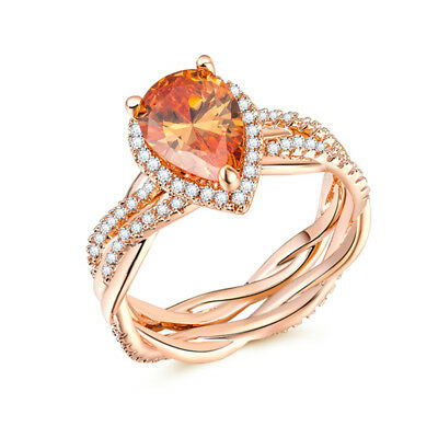 Gorgeous Rings for Women Wedding Ring Rose Gold Filled Jewelry Citrine Size 10