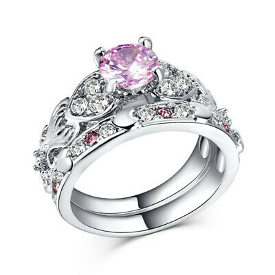 Gorgeous Wedding Rings for Women 925 Silver Round Cut Pink Sapphire Size 7