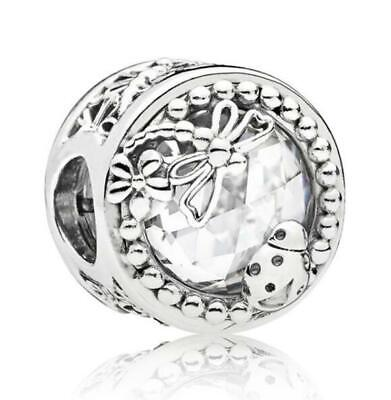 925 Sterling Silver Enchanted Nature Charm Clear CZ Dragonfly Glass For Bracelet