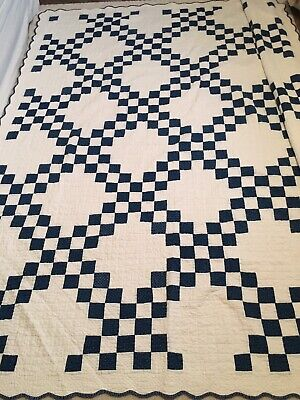 Antique Irish Chain Quilt Indigo Dye Hand Pieced & Quilted By A Skilled Quilter