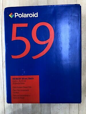 Polaroid type 59 Color Instant sheet film, unopened bx 20, exp. 5/04, very rare.