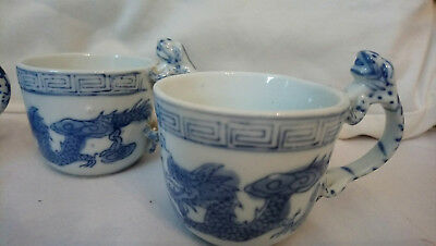 Antique / Vintage Chinese Blue and White Cups. Set of four.