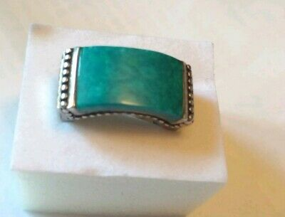 925 signed K Sterling Silver & Turquoise Vintage Ring Size 7
