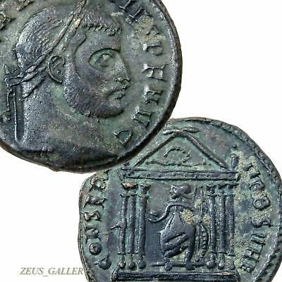 MAXENTIUS Roma Goddess in TEMPLE Ancient Roman Imperial Follis Coin XF Rome mint