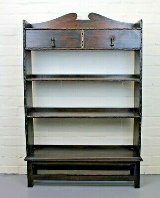 Antique Arts & Crafts Oak Three Tier Open Bookcase c1920 (Two Drawers)