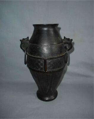 Antique China TOP QUALITY HIGH AGED MING TO QING BRONZE VASE ARCHAIC PATTERNS