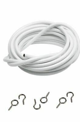 2M Net Curtain Wire White Window Cord Cable FREE HOOKS & EYES UK