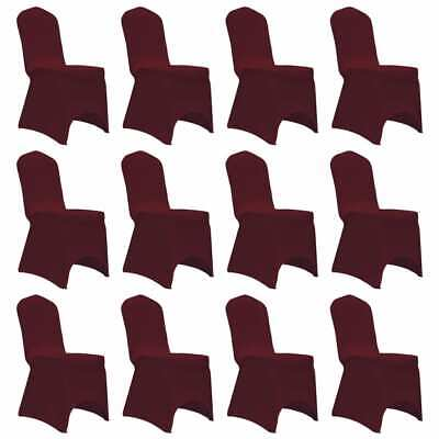 vidaXL 12x Chair Cover Stretch Burgundy Banquet Spandex Dining Chairs Covers