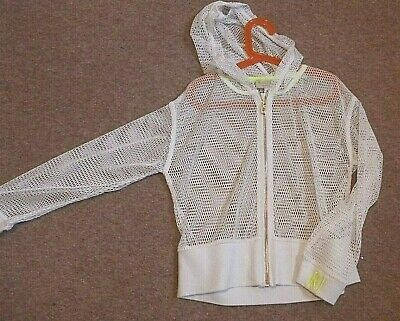 Girls white River Island hooded zip up (mesh material) age 9-10yrs