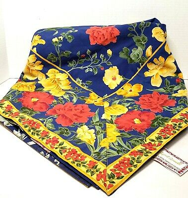 Vintage April Cornell Reversible 50x50 Tablecloth  100% Cotton