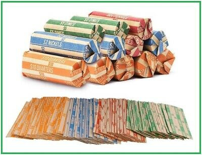 Coin Roll Wrappers 100 Count - Bundle 25 Each, Quarters Nickels Dimes Pennies