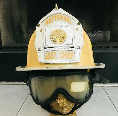 Morning Pride Asst Fire Chief Helmet Kettering Ohio w/Goggles/Ear/Neck Protector