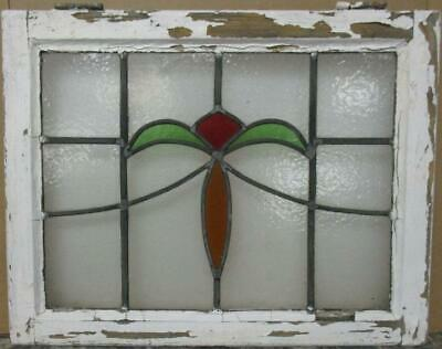 "MIDSIZE OLD ENGLISH LEADED STAINED GLASS WINDOW Pretty Sweep 23.5"" x 18.5"""
