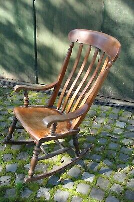 Victorian Rocking Chair With Arms Beach/Elm Solid & Original